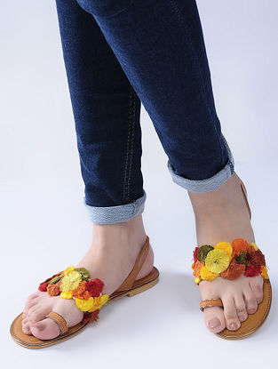 Tan-Red Handcrafted Flats with Strands of Colorful Thread Embroidery and Beads