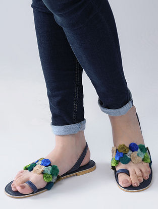 Navy Blue-Green Handcrafted Flats with Strands of Colorful Thread Embroidery and Beads
