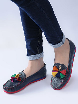 Navy Blue-Multicolored Handcrafted Loafers with Felt and Jute Tassels