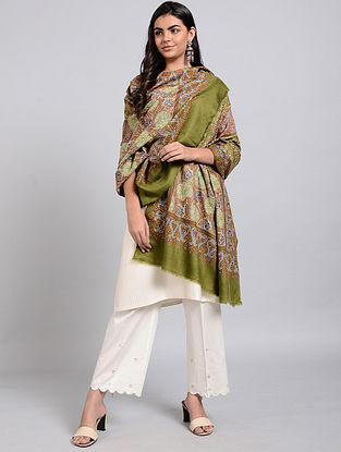 Green Pashmina Embroidered Shawl