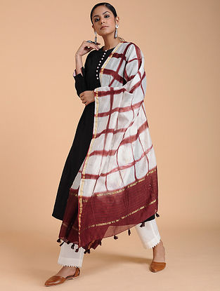 Ivory-Red Clamp-dyed Chanderi Dupatta with Zari
