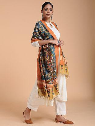 Multicolored Hand Painted Kalamkari Tussar Silk Dupatta
