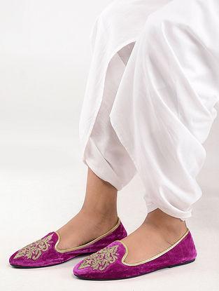 Pink-Gold Aari Work Handcrafted Velvet Juttis
