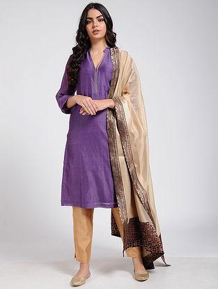 Purple Cotton Silk Kurta