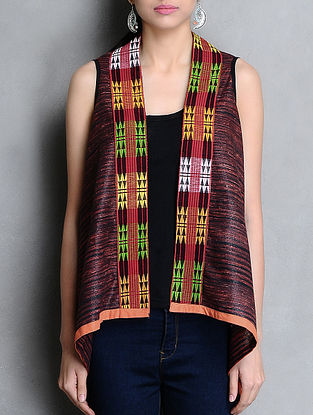 Red-Black Hand Woven Khadi-Cotton Shrug