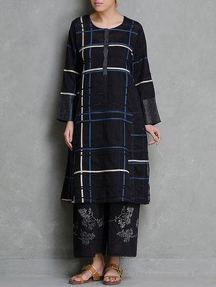 Black Applique & Zari Detailed Cotton Kurta