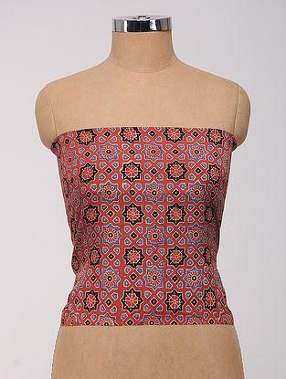Red-Blue-Black Ajrakh Printed Cotton-Silk Blouse Fabric