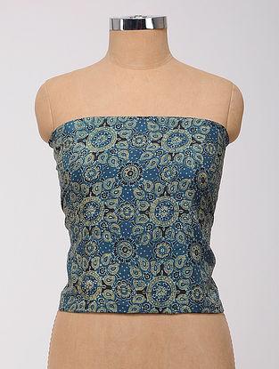 Blue-Green Ajrakh Printed Cotton-Silk Blouse Fabric