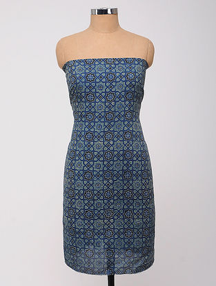 Blue-Black Ajrakh Printed Cotton-Silk Kurta Fabric