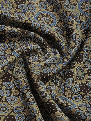 Beige-Blue Ajrakh Printed Cotton-Silk Fabric