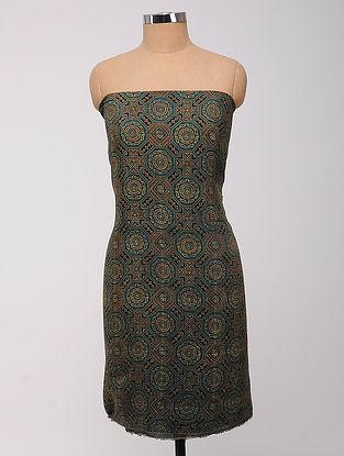 Grey-Red Ajrakh Printed Cotton-Silk Kurta Fabric