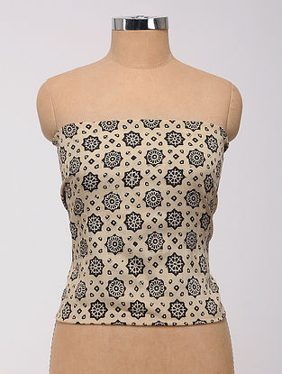 Cream-Black Ajrakh Printed Cotton-Silk Blouse Fabric