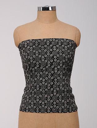 Black-White Ajrakh Printed Cotton-Silk Fabric