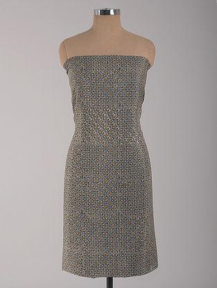 Green-Blue Ajrakh Printed Cotton-Silk Kurta Fabric Fabric