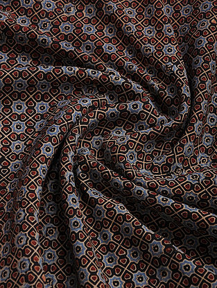 Blue-Maroon Ajrakh Printed Cotton-Silk Fabric