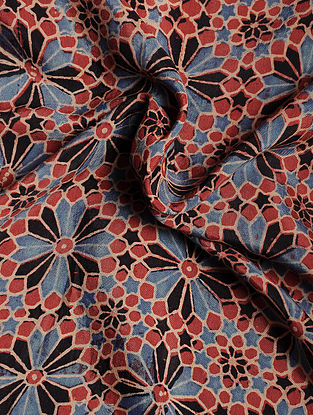 Red-Blue-Black Ajrakh Printed Cotton-Silk Fabric