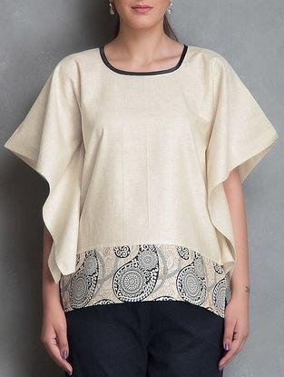 Ivory Block-Printed Short Cotton Kaftan