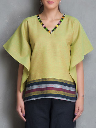 Green Loin Loom Patchwork V Neck Short Cotton-Linen Kaftan