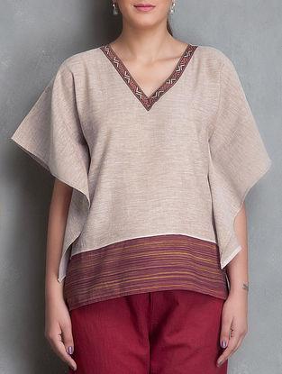 Brown Jacquard Patchwork V Neck Short Cotton Kaftan