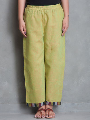 Green Patchwork Elasticated Waist Cotton Palazzo