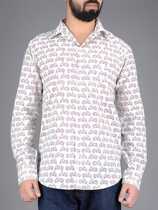 White-Pink Scooter Hand-Block Printed Full Sleeves Cotton Shirt