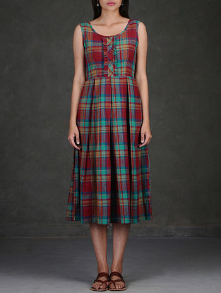 Red-Blue Checkered Cotton Dress with Inverted Box Pleats