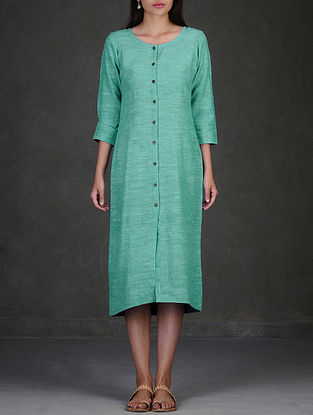 Green Button-Down Pleated Cotton Dress