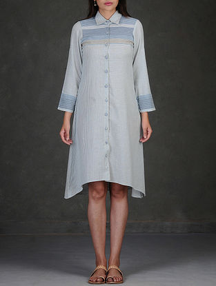 Blue-White Button-Down Asymmetrical Hem Roll-Up Sleeve Cotton Dress