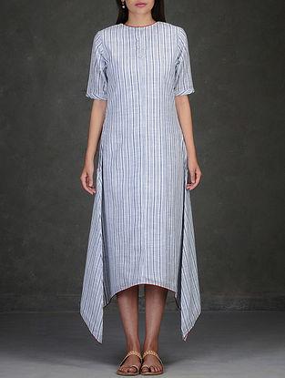 Blue-White Asymmetrical Hem Cotton Dress