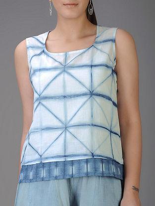 Indigo-Ivory Shibori-dyed Cotton Voile Tank Top