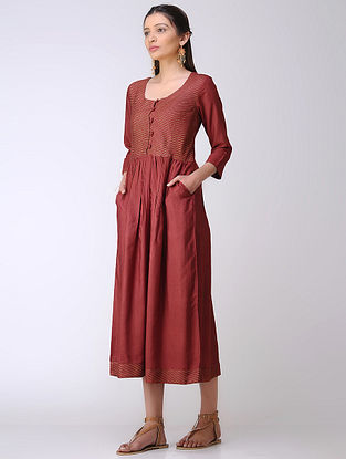 Maroon Cotton Tussar Dress with Block Printed Details