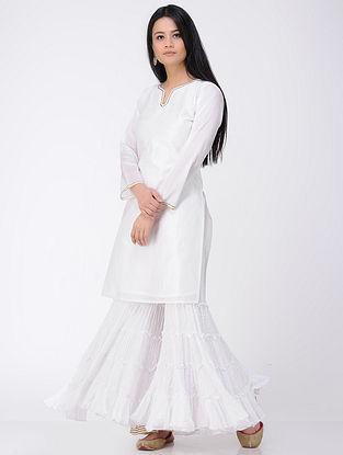 White Chanderi Kurta