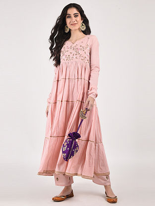 Peach Hand Dyed Cotton Kurta with Hand-Embroidery