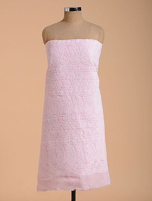 Pink-Ivory Chikankari Cotton Blend Kurta Fabric