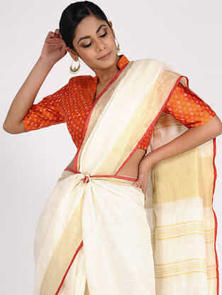 Orange Handloom Silk-Cotton Ikat Blouse