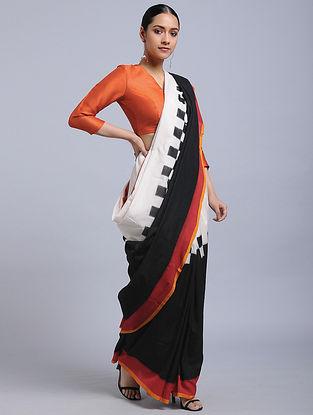 Ivory-Black Ikat Cotton Saree