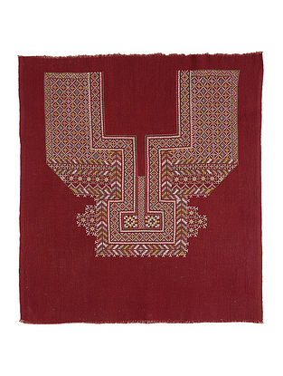 Brown Cotton Yoke with Cross-stitch Embroidery