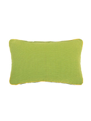 Green Cotton Cushion Cover (L:19.5in, W:11.5in)