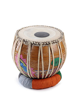 Patachitra Painted Dugi With Bira Home Accent (Tabla Base) (L:12in, W:12in, H:10.6in)