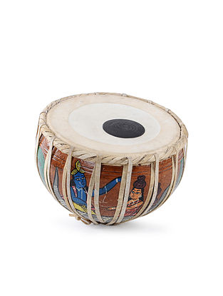Multicolored Hand-painted Wood Tabla Home Accent (L:3.6in, W:4.6in, H:11.2in)