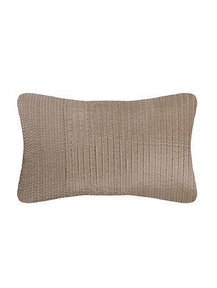 Beige Silk Cushion Cover (L:20in, W:12in)