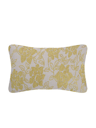 Grey Embroidered Cotton Cushion Cover (L:23in, W:12in)