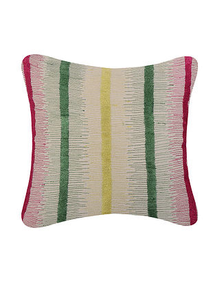 Multicolored Embroidered Cotton Cushion Cover (L:17.5in, W:17.5in)