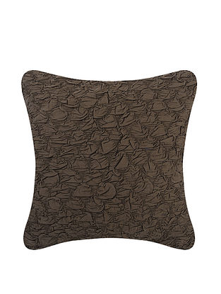 Brown Cotton Cushion Cover with Gathering (L:17.5in, W:17.5in)