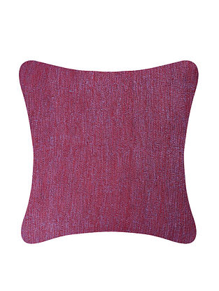 Red Embroidered Cotton Cushion Cover (L:26in, W:25.5in)