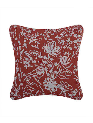 Red Embroidered Cotton Cushion Cover (L:17in, W:17in)
