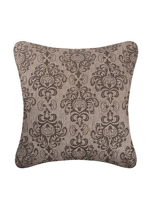 Brown Printed Cotton Cushion Cover (L:18in, W:18in)