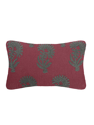 Red Embroidered Cotton Cushion Cover (L:23in, W:12in)