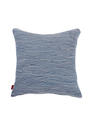Blue Cotton Cushion Cover (L:18in, W:17.5in)