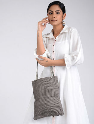 Grey Handcrafted Tote Bag